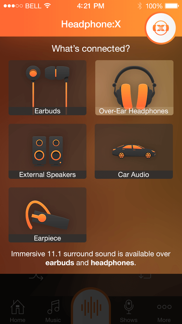 DTS Headphone:X - Headphone Selection Panel