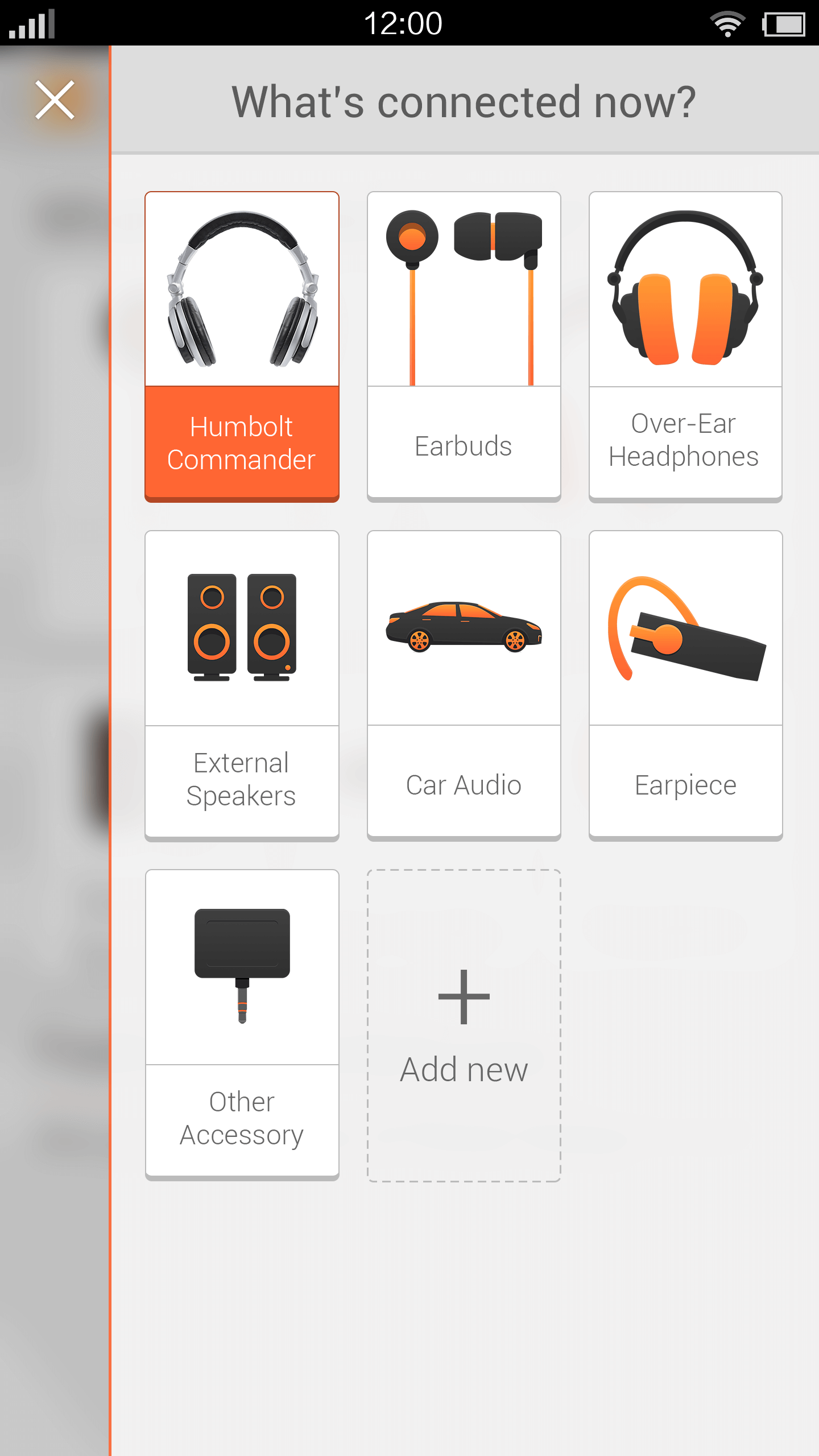 Home Screen - Switch Headphones Drawer