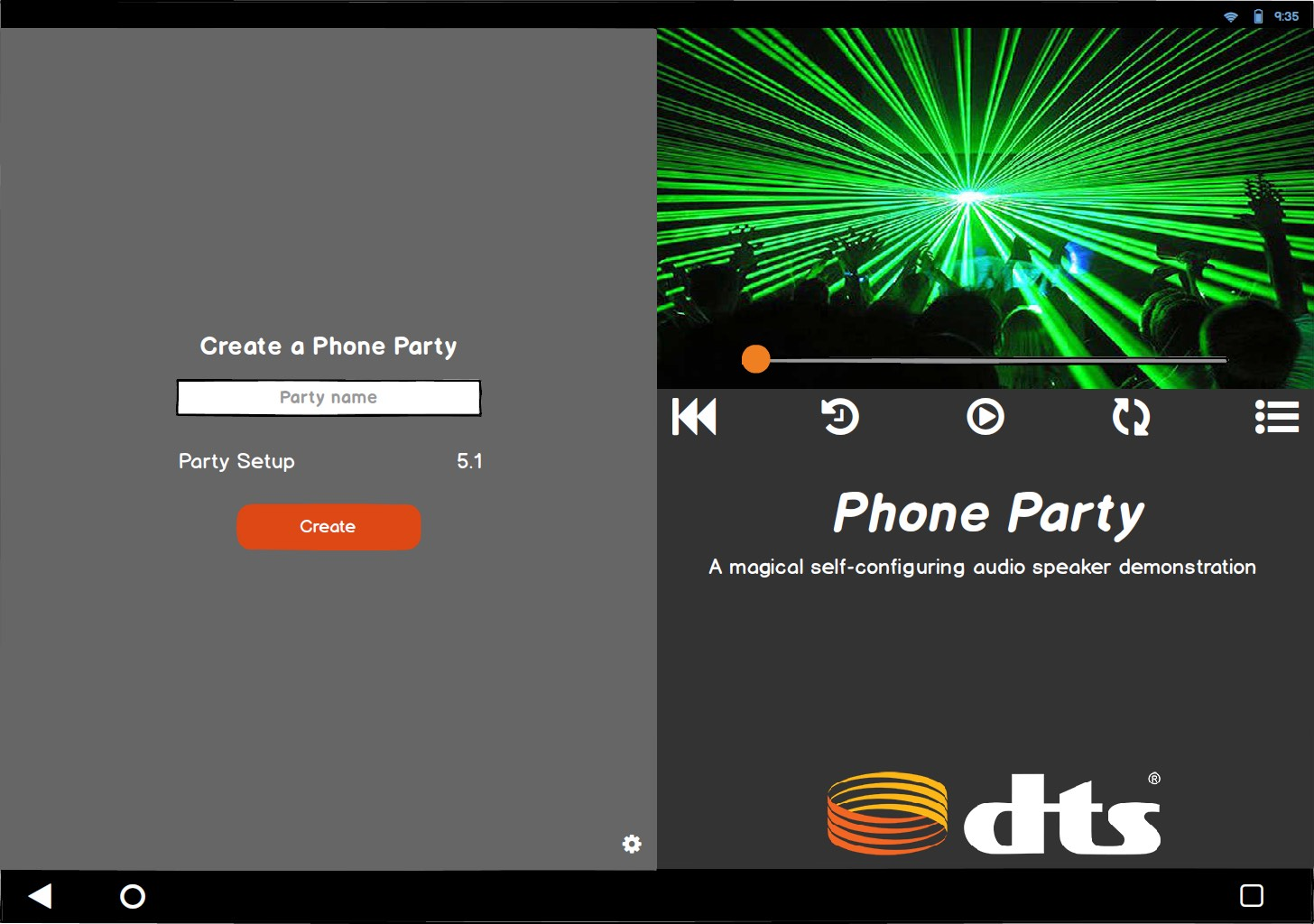 Tablet App - Create a Phone Party: Wireframe