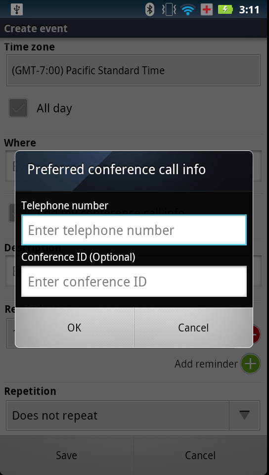 Conference Call Bridge Dialog