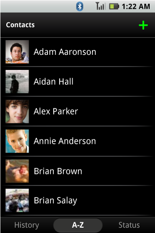 BLUR 1.0 Contacts List - A-Z Panel